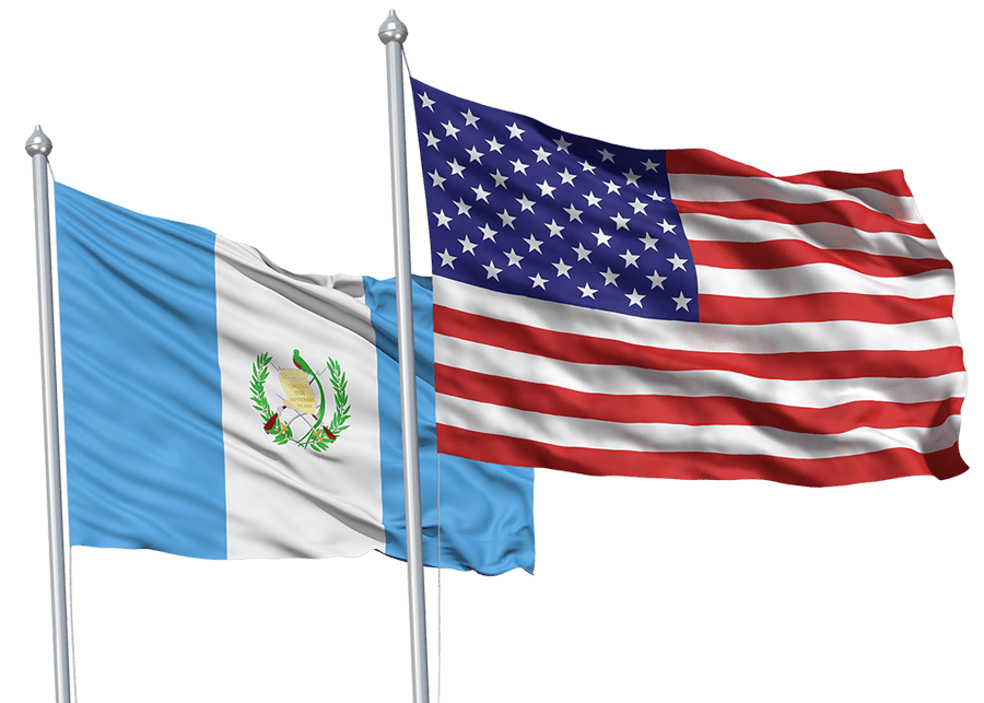 USA and Guatemala flags